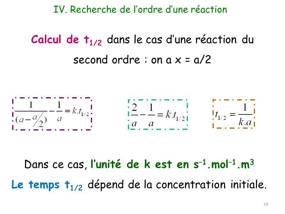 19 Calcul de t 1/2 dans le cas dune réaction du second ordre : on a x = a/2 Dans ce cas, lunité de k est en s –1.mol –1.m 3 Le temps t 1/2 dépend de l