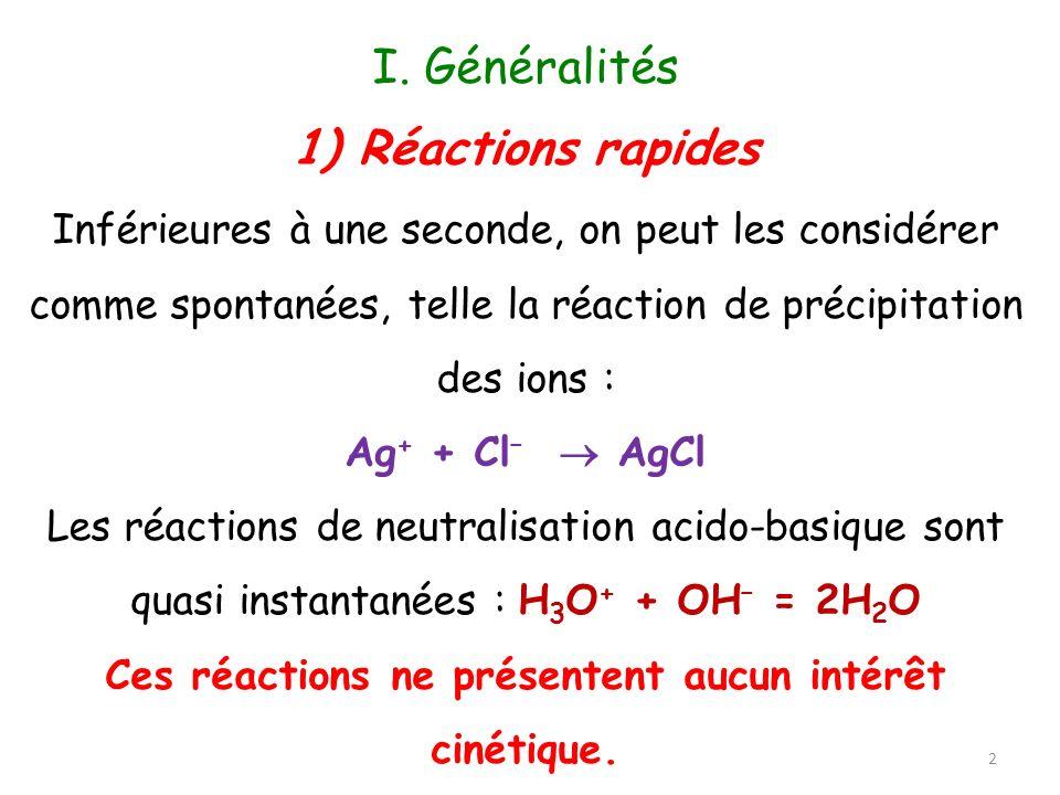 I. Généralités Inférieures à une seconde, on peut les considérer comme spontanées, telle la réaction de précipitation des ions : Ag + + Cl – AgCl Les