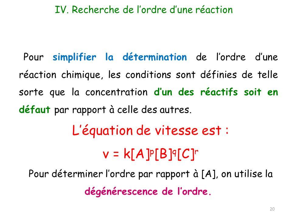 20 Pour simplifier la détermination de lordre dune réaction chimique, les conditions sont définies de telle sorte que la concentration dun des réactif