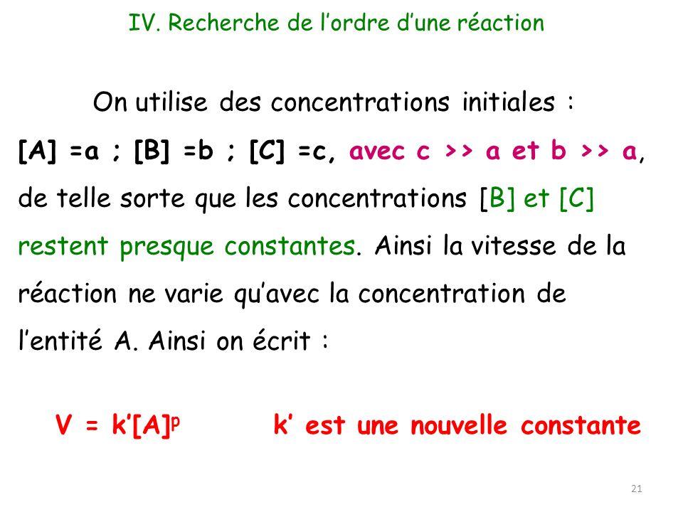 21 On utilise des concentrations initiales : [A] =a ; [B] =b ; [C] =c, avec c >> a et b >> a, de telle sorte que les concentrations [B] et [C] restent