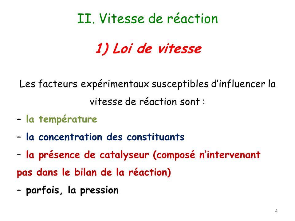 La loi de vitesse est la relation mathématique qui existe entre la vitesse de la réaction et la concentration des réactifs.