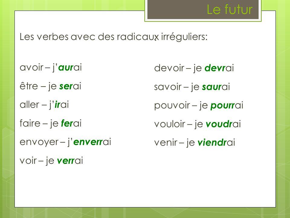 Le futur Les verbes avec des radicaux irréguliers: avoir – j aur ai être – je ser ai aller – j ir ai faire – je fer ai envoyer – j enverr ai voir – je