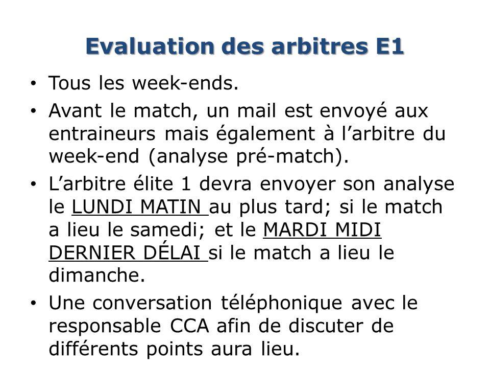 Evaluation des arbitres E1 Tous les week-ends. Avant le match, un mail est envoyé aux entraineurs mais également à larbitre du week-end (analyse pré-m