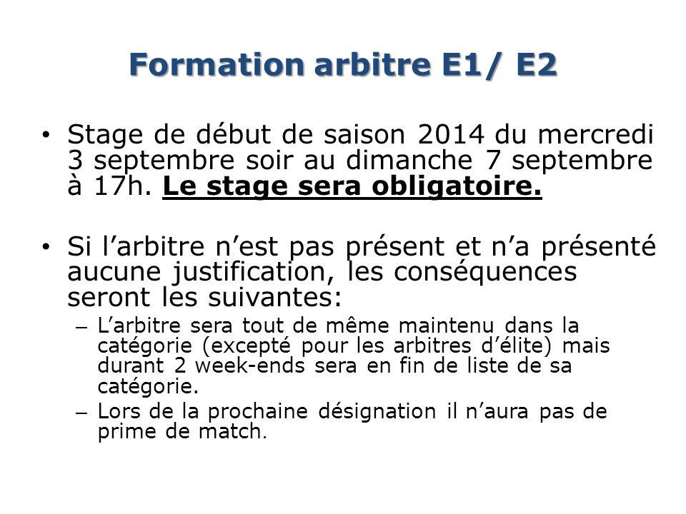 Formation arbitre E1/ E2 Stage de début de saison 2014 du mercredi 3 septembre soir au dimanche 7 septembre à 17h. Le stage sera obligatoire. Si larbi