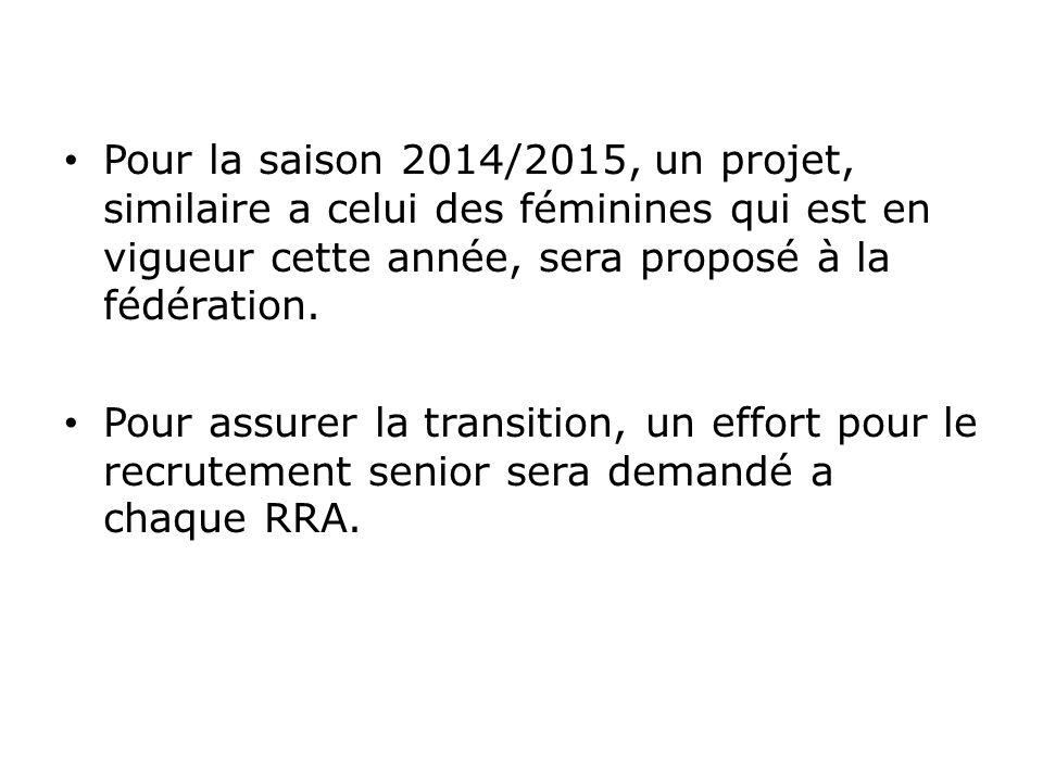 Pour la saison 2014/2015, un projet, similaire a celui des féminines qui est en vigueur cette année, sera proposé à la fédération. Pour assurer la tra