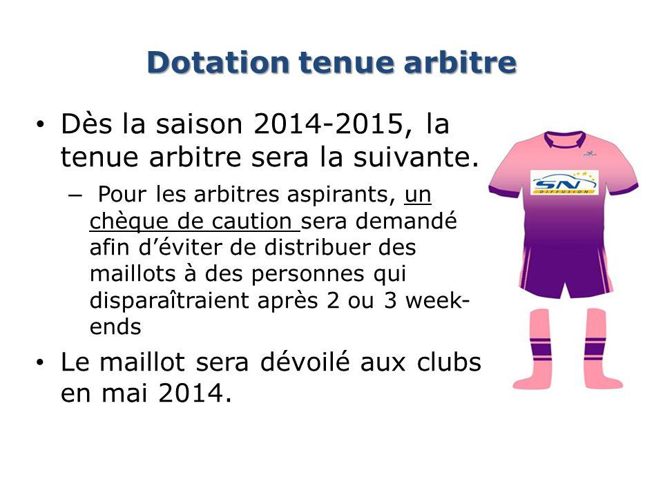 Dotation tenue arbitre Dès la saison 2014-2015, la tenue arbitre sera la suivante. – Pour les arbitres aspirants, un chèque de caution sera demandé af