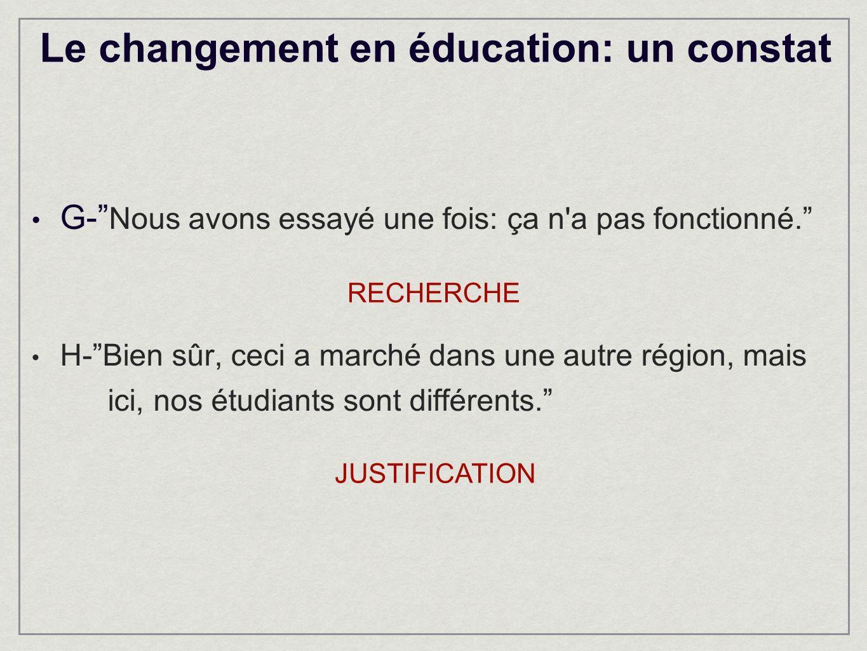 Le changement en éducation: un constat G- Nous avons essayé une fois: ça n a pas fonctionné.