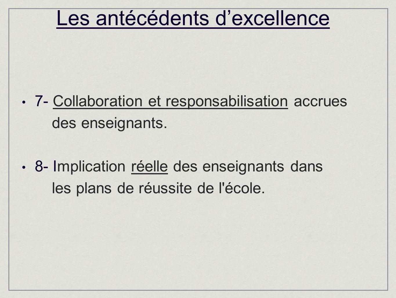 Les antécédents dexcellence 7- Collaboration et responsabilisation accrues des enseignants.