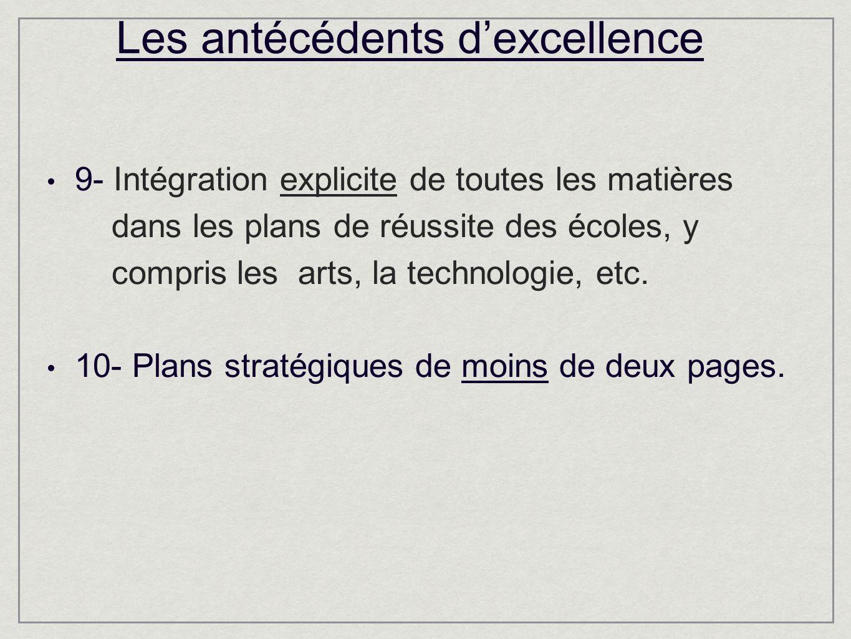 Les antécédents dexcellence 9- Intégration explicite de toutes les matières dans les plans de réussite des écoles, y compris les arts, la technologie, etc.