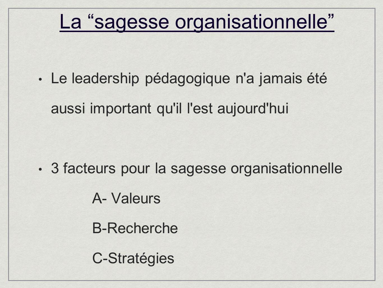 La sagesse organisationnelle Le leadership pédagogique n a jamais été aussi important qu il l est aujourd hui 3 facteurs pour la sagesse organisationnelle A- Valeurs B-Recherche C-Stratégies