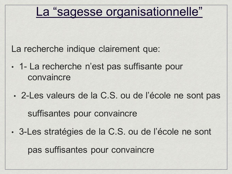 La sagesse organisationnelle La recherche indique clairement que: 1- La recherche nest pas suffisante pour convaincre 2-Les valeurs de la C.S.