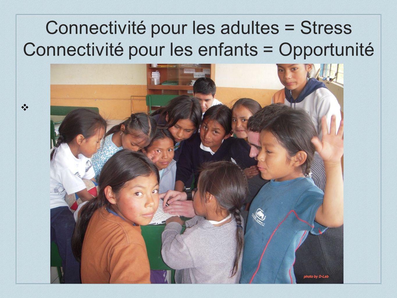 Connectivité pour les adultes = Stress Connectivité pour les enfants = Opportunité