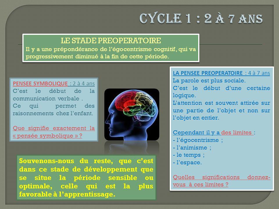 LE STADE DES OPERATIONS CONCRETES Lenfant procède à des opérations mentales sur des objets concrets et manipulables.