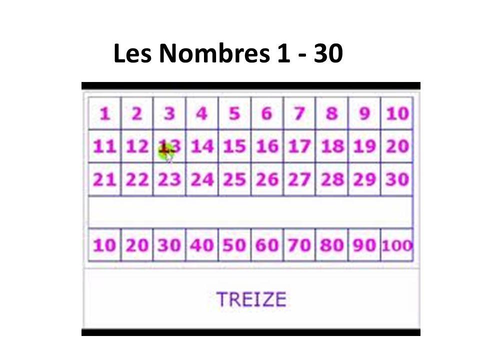 Les Nombres 1 - 30