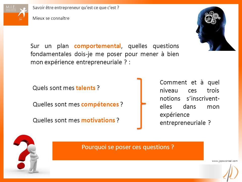 Savoir être entrepreneur quest ce que cest ? Mieux se connaître www.jpps-conseil.com Sur un plan comportemental, quelles questions fondamentales dois-