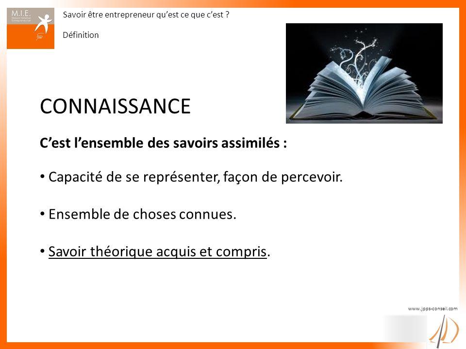www.jpps-conseil.com CONNAISSANCE Cest lensemble des savoirs assimilés : Capacité de se représenter, façon de percevoir. Ensemble de choses connues. S