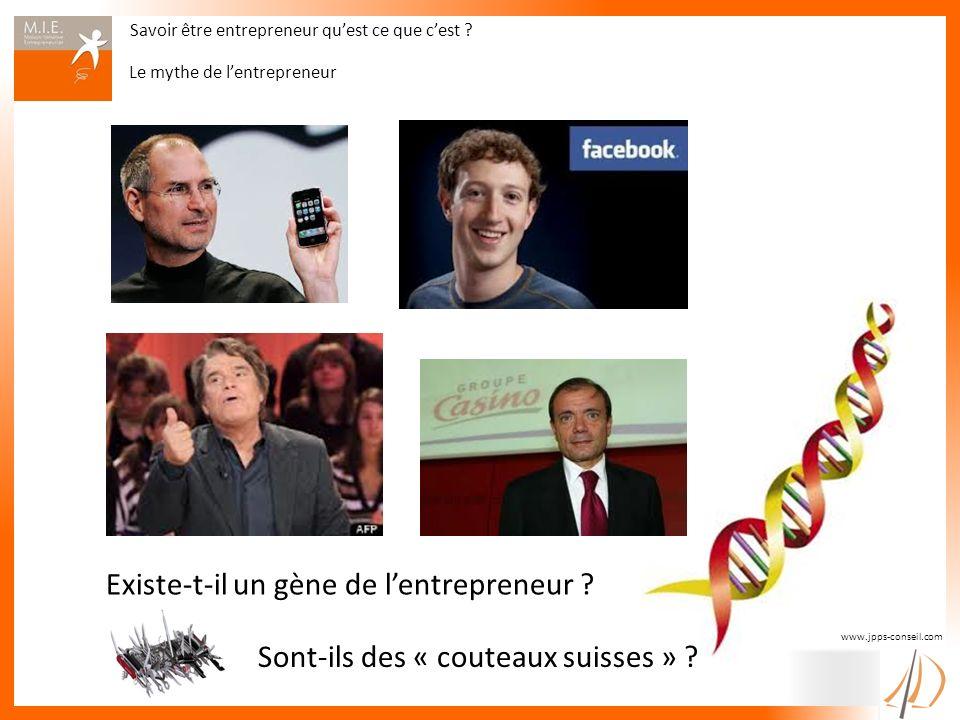 Savoir être entrepreneur quest ce que cest ? Le mythe de lentrepreneur www.jpps-conseil.com Sont-ils des « couteaux suisses » ? Existe-t-il un gène de