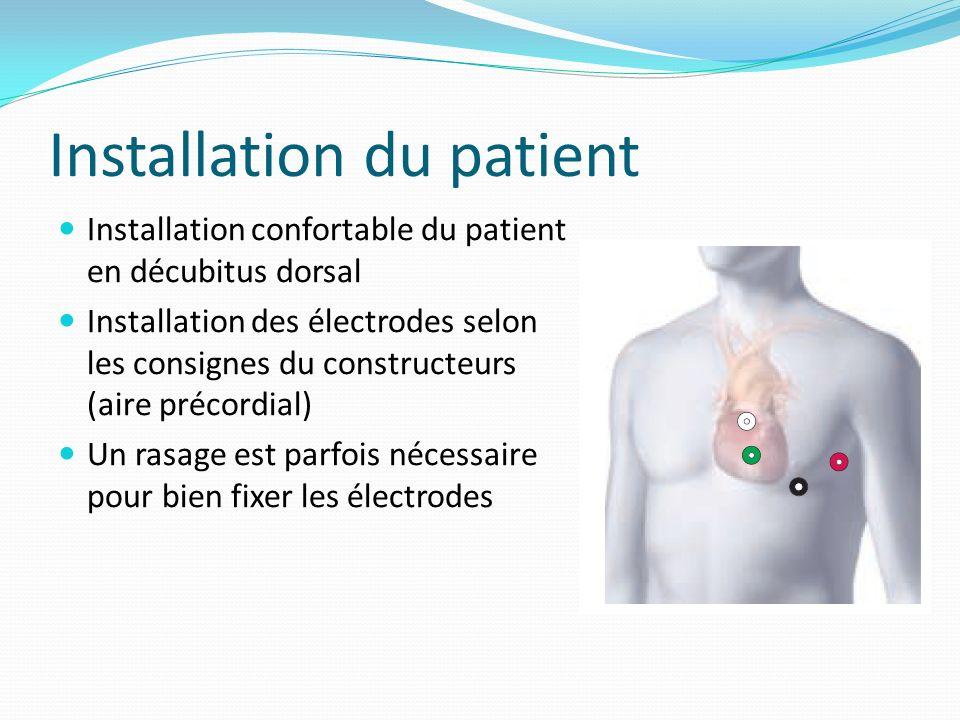 Installation du patient Installation confortable du patient en décubitus dorsal Installation des électrodes selon les consignes du constructeurs (aire