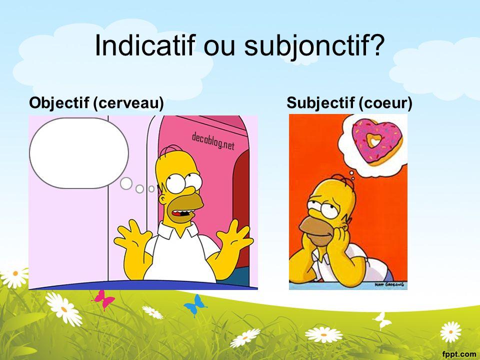 Indicatif ou subjonctif? Objectif (cerveau) Je pense que Je crois que Subjectif (coeur)