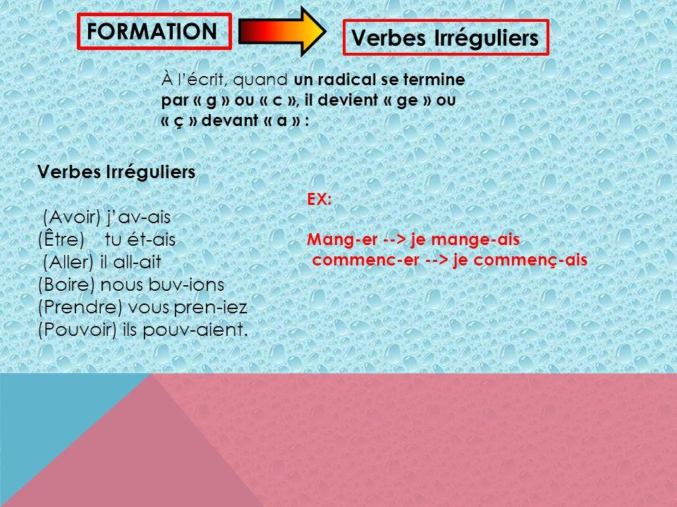 Verbes réguliers: Pour former limparfait, on ajoute les terminaisons suivantes : -ais (J/Je) -ais (Tu) -ait (Il/Elle/On) -ions (Nous) -iez (Vous) -aie