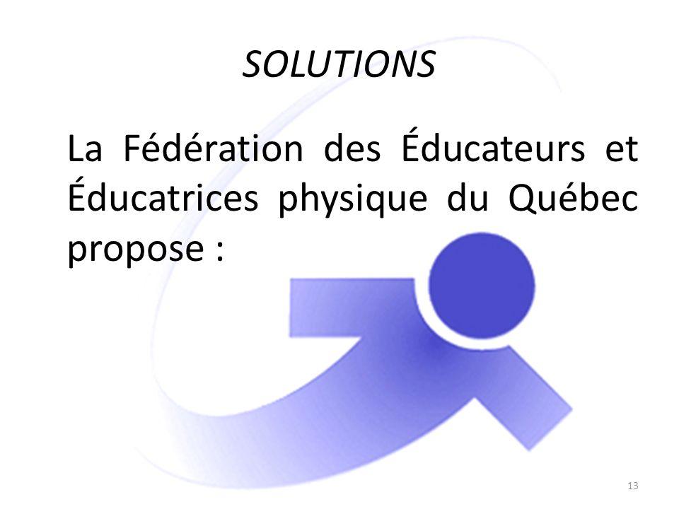 SOLUTIONS La Fédération des Éducateurs et Éducatrices physique du Québec propose : 13