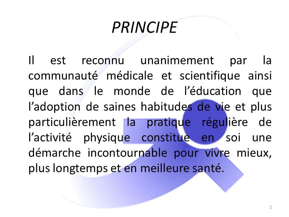 PRINCIPE Il est reconnu unanimement par la communauté médicale et scientifique ainsi que dans le monde de léducation que ladoption de saines habitudes