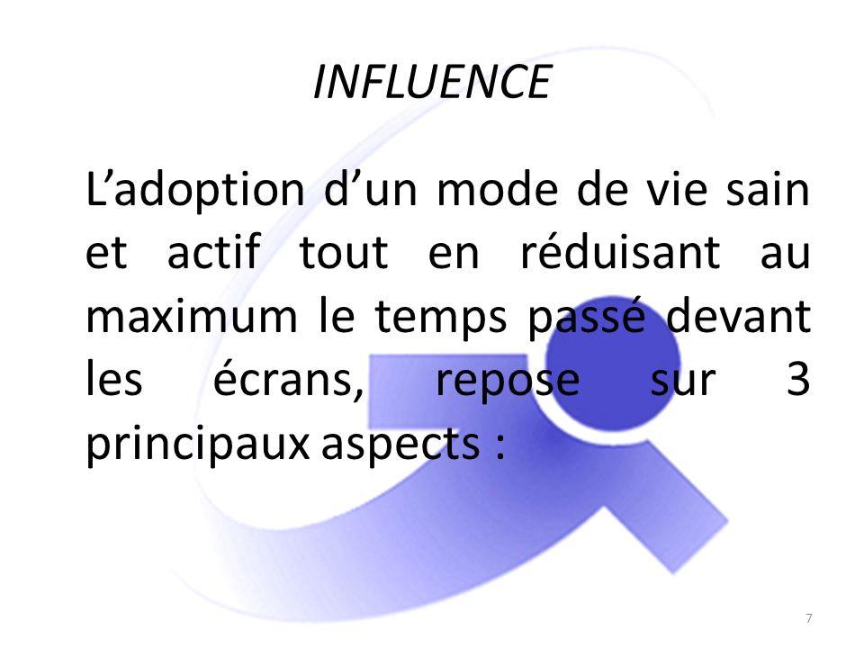 INFLUENCE Ladoption dun mode de vie sain et actif tout en réduisant au maximum le temps passé devant les écrans, repose sur 3 principaux aspects : 7