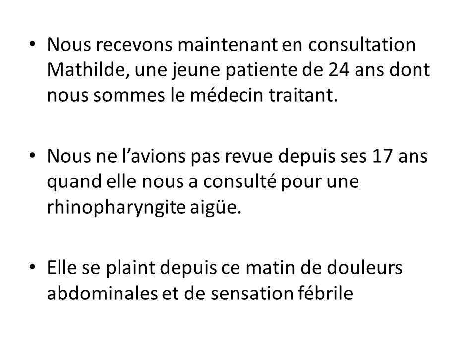 Nous recevons maintenant en consultation Mathilde, une jeune patiente de 24 ans dont nous sommes le médecin traitant. Nous ne lavions pas revue depuis