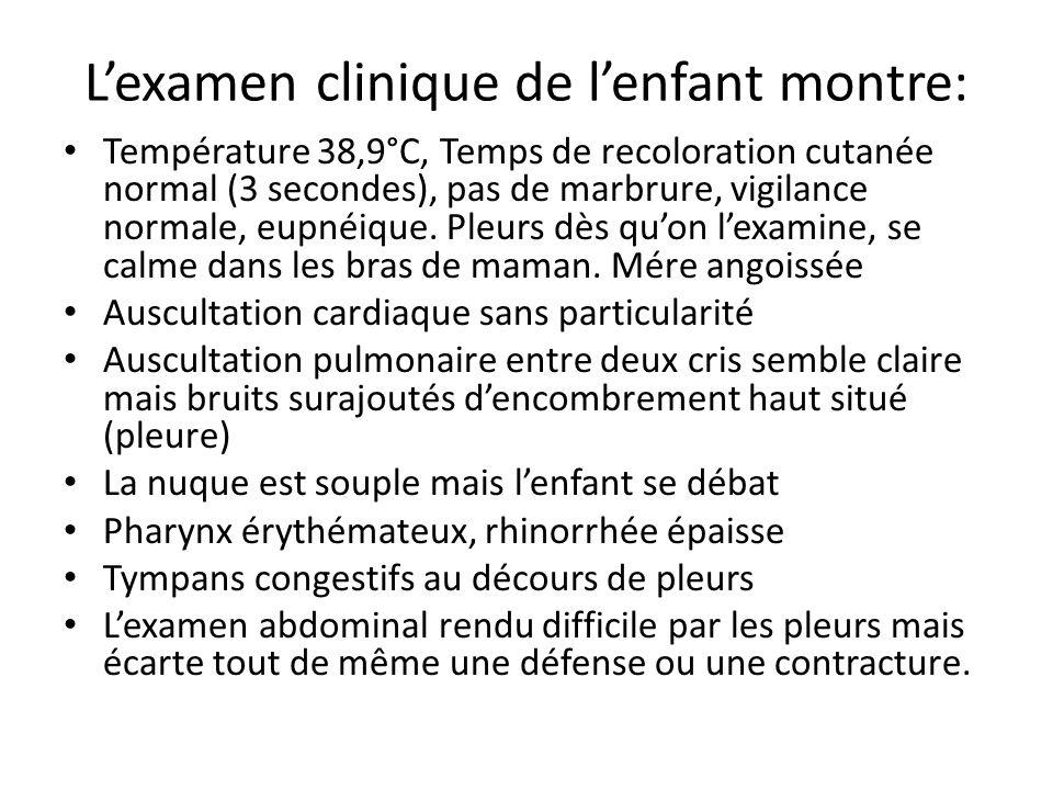 Lexamen clinique de lenfant montre: Température 38,9°C, Temps de recoloration cutanée normal (3 secondes), pas de marbrure, vigilance normale, eupnéiq