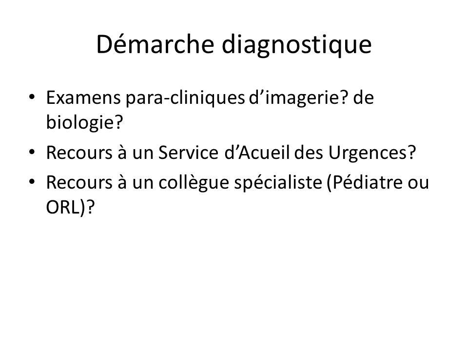 Démarche diagnostique Examens para-cliniques dimagerie? de biologie? Recours à un Service dAcueil des Urgences? Recours à un collègue spécialiste (Péd
