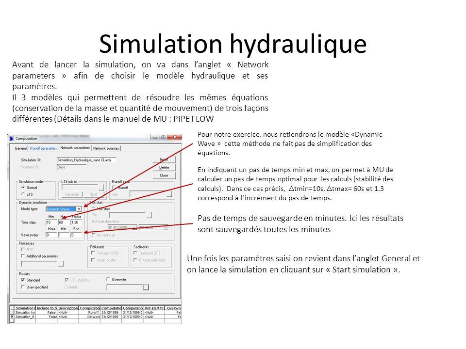 Simulation hydraulique Avant de lancer la simulation, on va dans langlet « Network parameters » afin de choisir le modèle hydraulique et ses paramètre