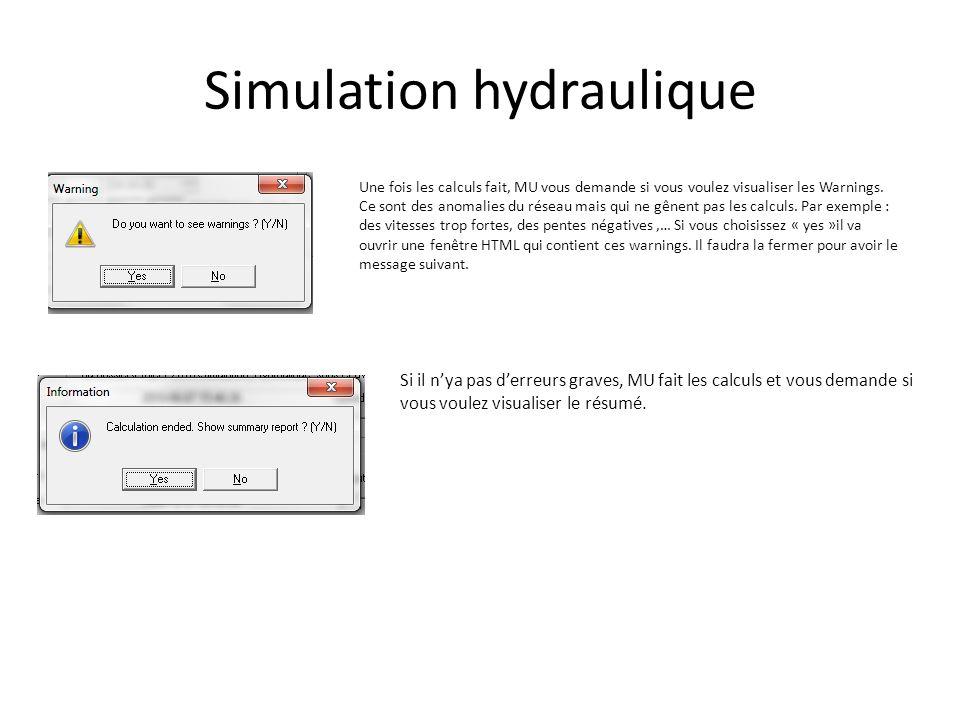 Simulation hydraulique Une fois les calculs fait, MU vous demande si vous voulez visualiser les Warnings. Ce sont des anomalies du réseau mais qui ne