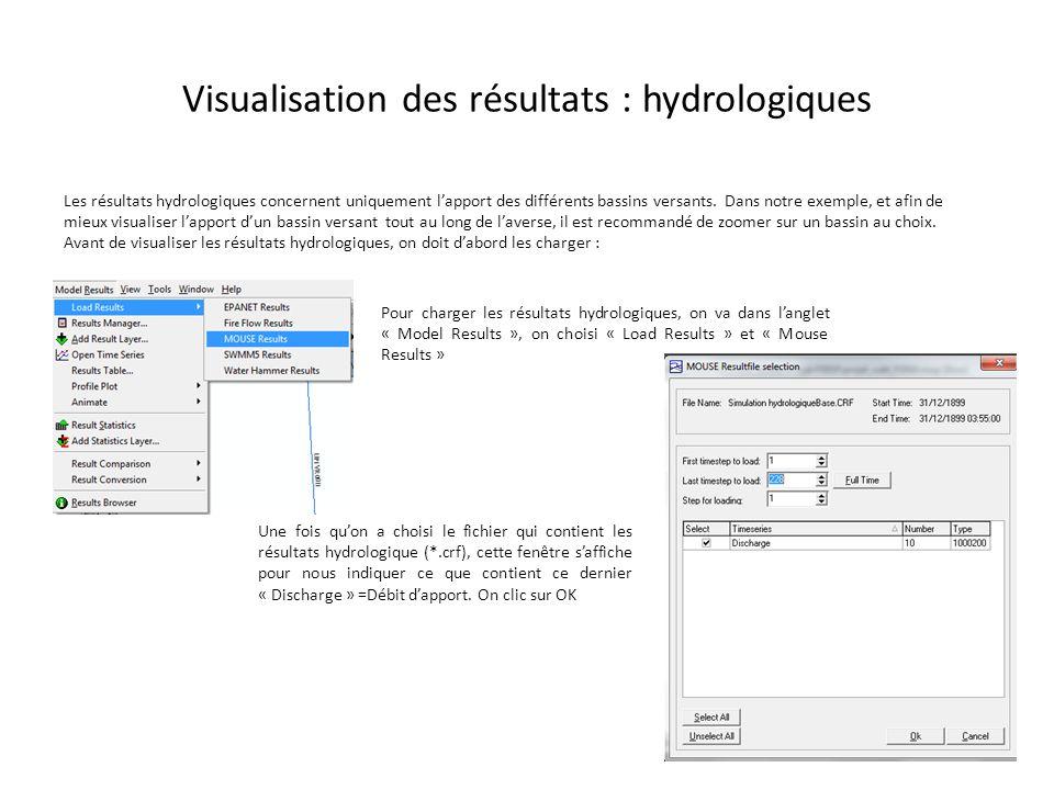 Visualisation des résultats : hydrologiques Les résultats hydrologiques concernent uniquement lapport des différents bassins versants. Dans notre exem