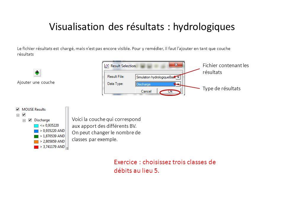 Visualisation des résultats : hydrologiques Le fichier résultats est chargé, mais nest pas encore visible. Pour y remédier, il faut lajouter en tant q