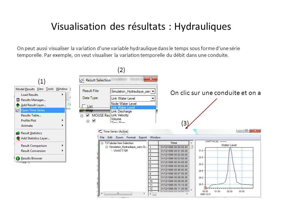 Visualisation des résultats : Hydrauliques On peut aussi visualiser la variation dune variable hydraulique dans le temps sous forme dune série tempore