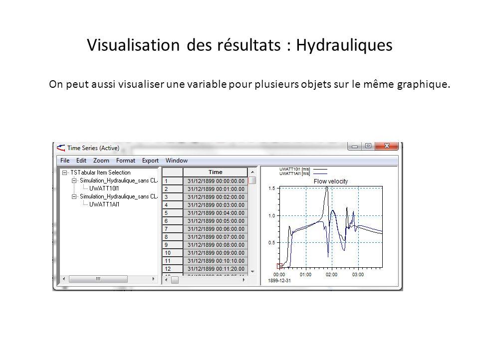 Visualisation des résultats : Hydrauliques On peut aussi visualiser une variable pour plusieurs objets sur le même graphique.