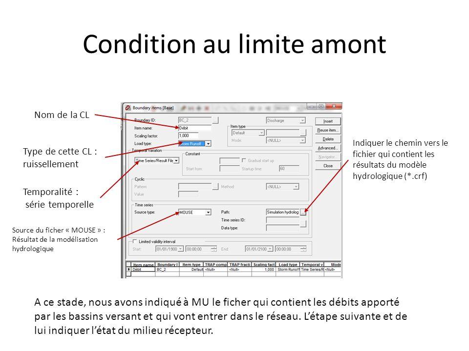 Condition au limite amont Nom de la CL Type de cette CL : ruissellement Temporalité : série temporelle Source du ficher « MOUSE » : Résultat de la mod