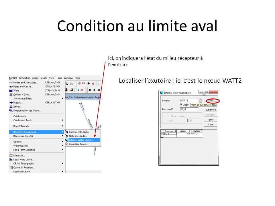 Condition au limite aval Ici, on indiquera létat du milieu récepteur à lexutoire Localiser lexutoire : ici cest le nœud WATT2