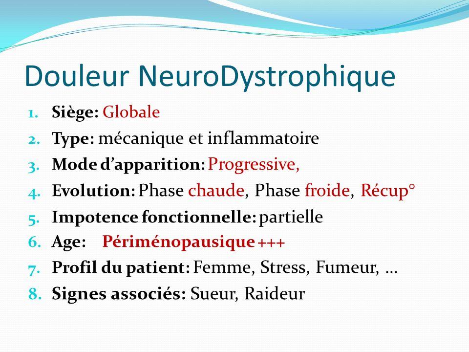 Douleur NeuroDystrophique 1. Siège: Globale 2. Type: mécanique et inflammatoire 3. Mode dapparition: Progressive, 4. Evolution: Phase chaude, Phase fr
