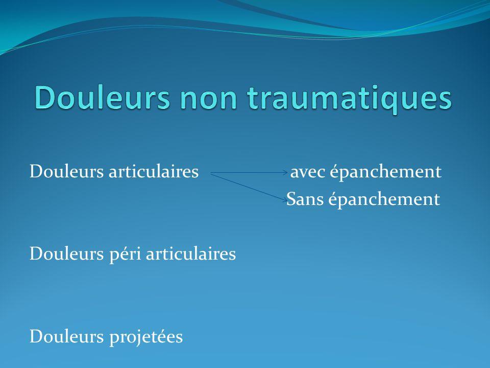 Douleurs articulaires avec épanchement Sans épanchement Douleurs péri articulaires Douleurs projetées