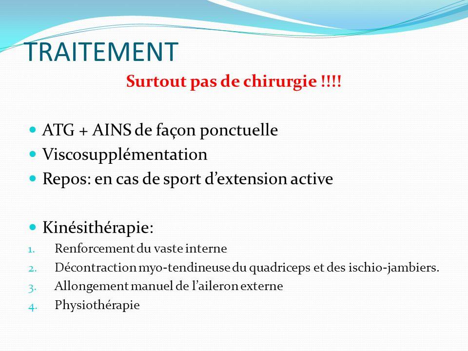 TRAITEMENT Surtout pas de chirurgie !!!! ATG + AINS de façon ponctuelle Viscosupplémentation Repos: en cas de sport dextension active Kinésithérapie: