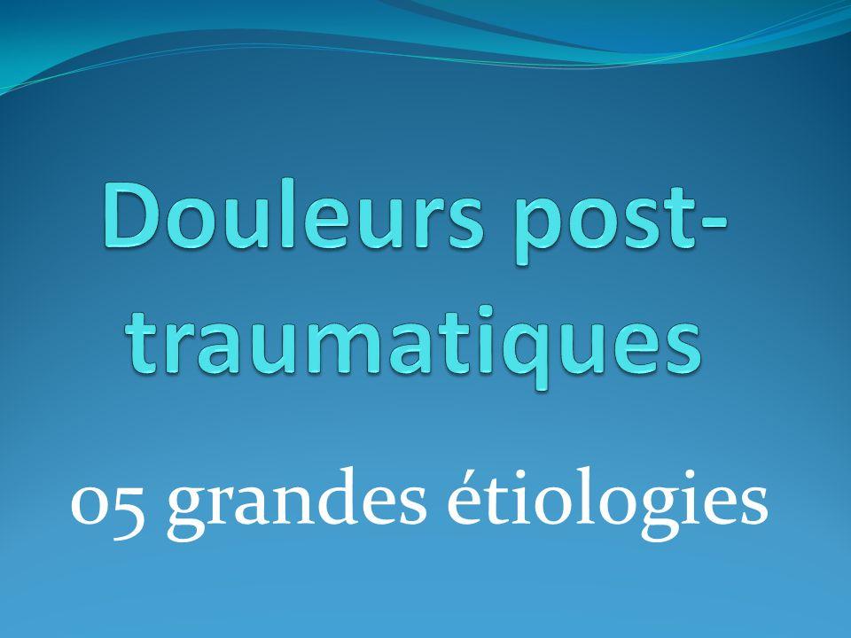 Douleurs post-traumatiques Examen clinique (recherche complications) Radiographie standard Fractures Positive Luxations Entorse Négative plaie méniscale AlgoNeuroDystrophie