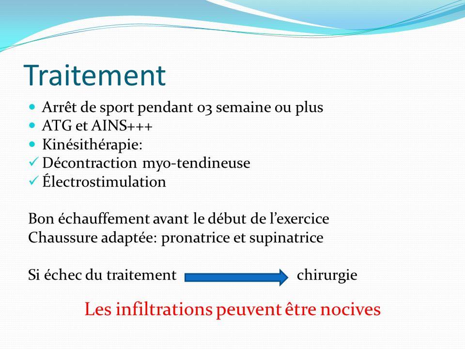 Traitement Arrêt de sport pendant 03 semaine ou plus ATG et AINS+++ Kinésithérapie: Décontraction myo-tendineuse Électrostimulation Bon échauffement a