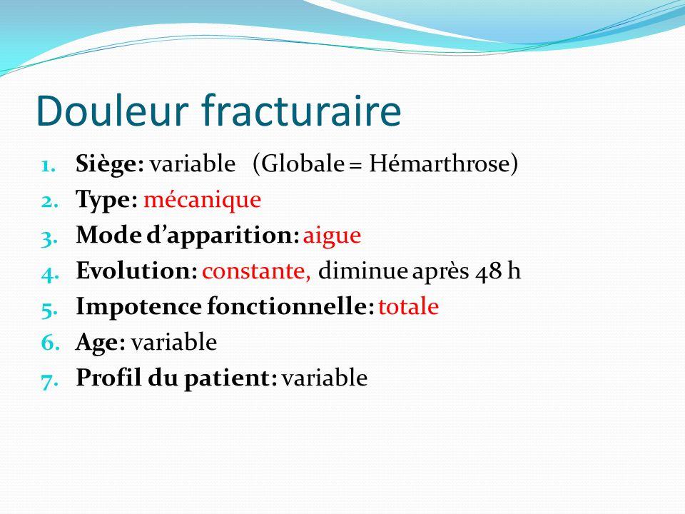 Douleur fracturaire 1. Siège: variable (Globale = Hémarthrose) 2. Type: mécanique 3. Mode dapparition: aigue 4. Evolution: constante, diminue après 48