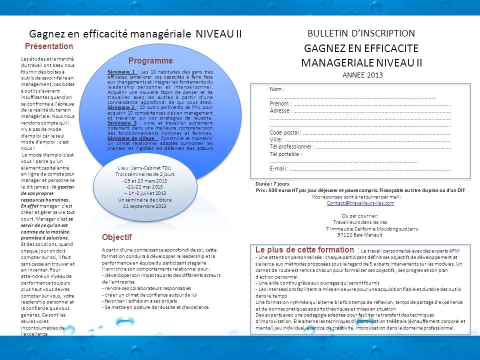 Gagnez en efficacité managériale NIVEAU II Programme Les études et le marché du travail ont beau nous fournir des boîtes à outils de savoir-faire en m