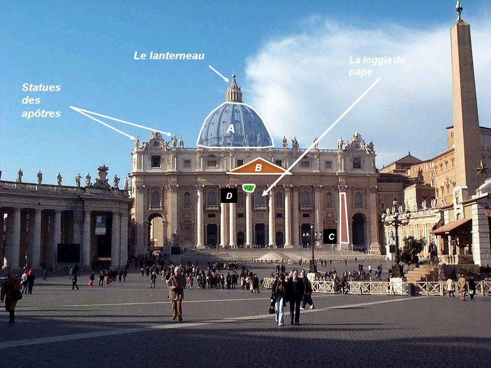 A B C D Le lanterneau La loggia du pape Statues des apôtres