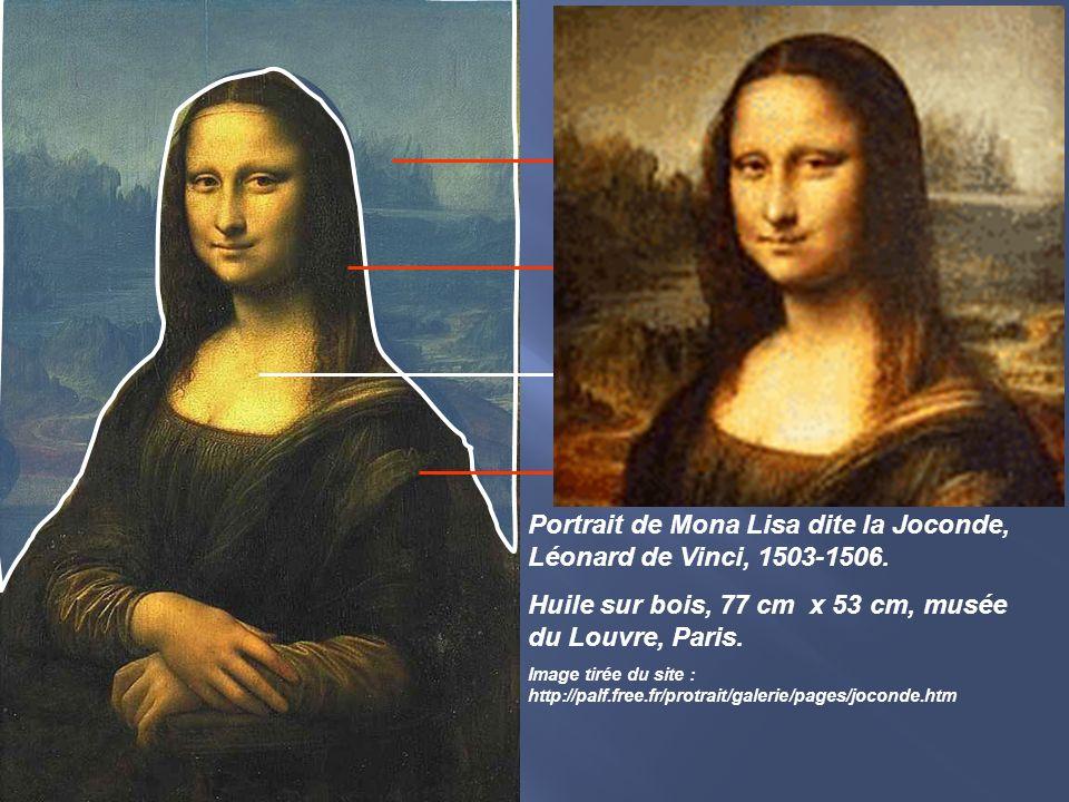 Portrait de Mona Lisa dite la Joconde, Léonard de Vinci, 1503-1506. Huile sur bois, 77 cm x 53 cm, musée du Louvre, Paris. Image tirée du site : http: