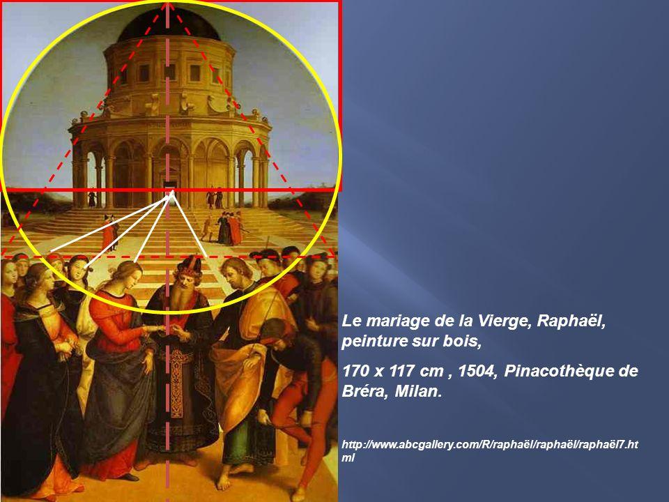 Le mariage de la Vierge, Raphaël, peinture sur bois, 170 x 117 cm, 1504, Pinacothèque de Bréra, Milan. http://www.abcgallery.com/R/raphaël/raphaël/rap