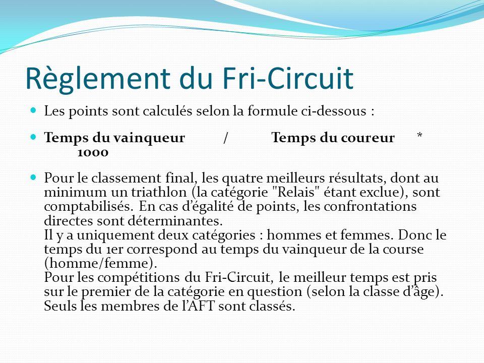 Règlement du Fri-Circuit Les points sont calculés selon la formule ci-dessous : Temps du vainqueur/Temps du coureur* 1000 Pour le classement final, les quatre meilleurs résultats, dont au minimum un triathlon (la catégorie Relais étant exclue), sont comptabilisés.