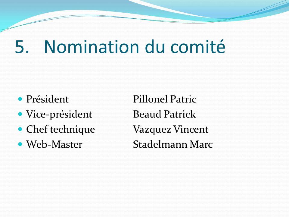 5.Nomination du comité PrésidentPillonel Patric Vice-présidentBeaud Patrick Chef techniqueVazquez Vincent Web-MasterStadelmann Marc